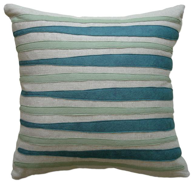 Modern Felt Pillows : Felt Applique Linen Pillow - Morris, Brook/Loden, 16x16 - Contemporary - Decorative Pillows - by ...