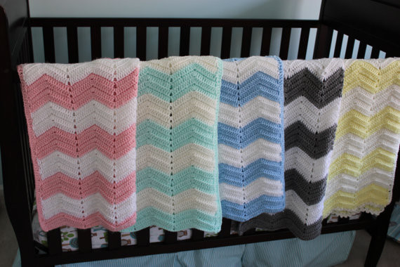 Soft Mint Chevron Baby Blanket by Clellie Divine traditional baby bedding