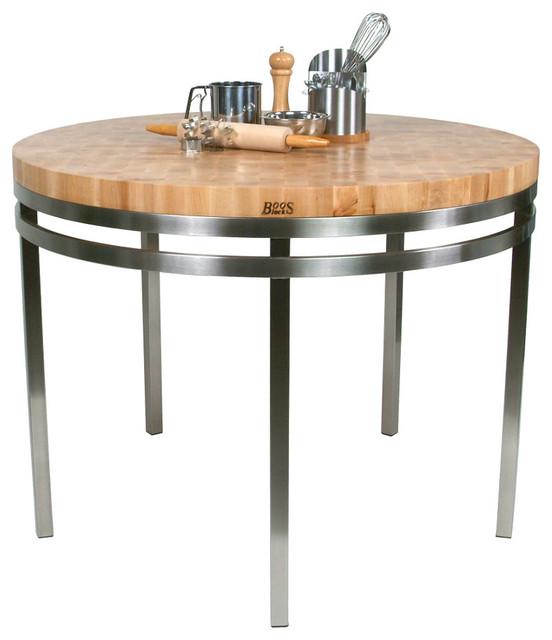 Round Kitchen Cart Butcher Block : Boos Maple & Stainless Steel Metro Oasis - 48