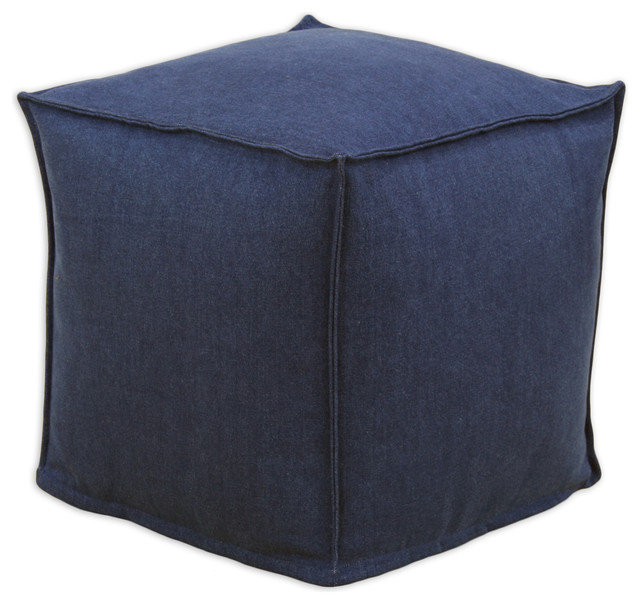 "Chooty Denim Blue Collection 17"" Seamed Beads Hassock traditional-ottomans-and-cubes"