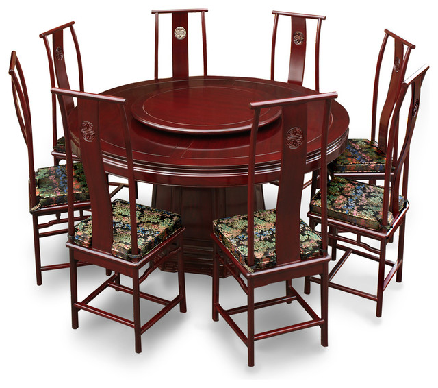 66in rosewood ming design round dining table with 8 chairs asian dining sets by china. Black Bedroom Furniture Sets. Home Design Ideas