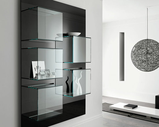 Dazibao Wall Art and Shelf - Dazibao is designed by Gonzo and Vicari. A smart and modern way to incorporate display accessories onto a shelf panel so as to create wall art. Dazibao comes in a horizontal or vertical version with the back panel in a white or black lacquer finish. Back panel available also in canaletto walnut wood finish.