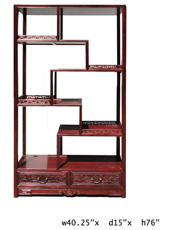 "Chinese Rosewood 8 Treasure Curio Display Cabinet - This is a traditional Chinese style display , called "" eight treasure cabinet "" in Chinese term. Its variation in height and size on each shelf is good for displaying a variety of items. It is an elegant furniture piece for grand room dividing and vase statues displaying."