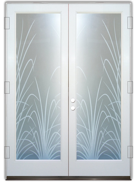 Glass Front Entry Doors - Frosted Glass Obscure - WISPY REEDS 3D ...
