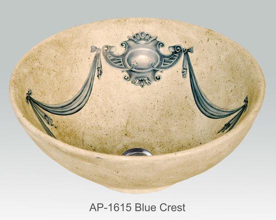 "Hand Painted Vessels Sinks by Atlantis - ""BLUE CREST"" Shown on AP-1615 La Fayette vessel sink  O/D 15-3/4"" Dia x 6"" H center drain no overflow."