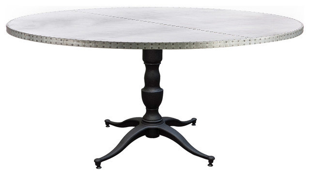Zinc Top Round Dining Table 52 Inch Diameter Industrial Dining Tables