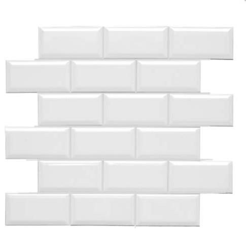 """Neri White Beveled Mesh Glossy 2"""" x 4"""" Mosaic floor-tiles"""