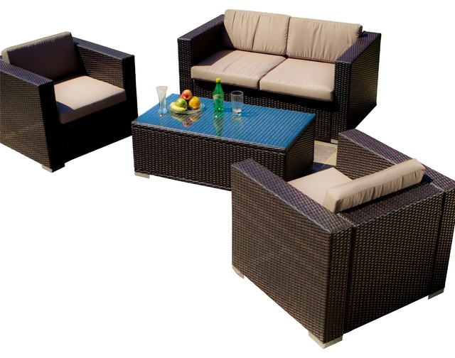 Westlake brown wicker 4pc outdoor sofa set tropical for Great deals on outdoor furniture