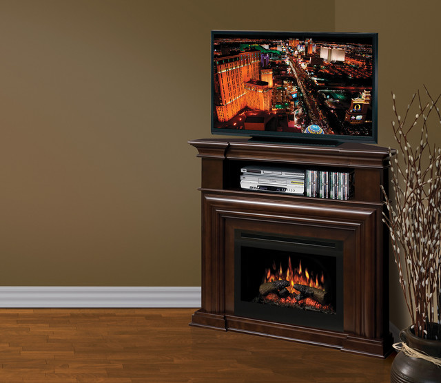 Montgomery Espresso Corner Electric Fireplace Media Center with Logs ...