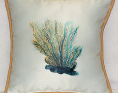 Aqua Blue Coral Throw Pillow tropical pillows
