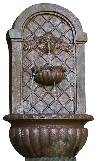 Venetian Outdoor Solar On Demand Wall Fountain, Iron traditional-outdoor-fountains-and-ponds