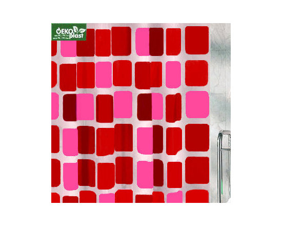 Sonny PEVA Shower Curtain from Vita Futura - Fun and contemporary multi-colored block pattern over a frosted background. Semi-transparent.