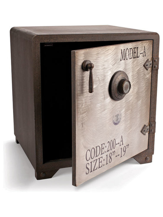 Vintage Safe Style Cabinet - Fun and functional metal safe that would make an excellent addition to a boy's room. We guarantee it will become the repository for special comic books, awesome rocks and the occasional creep crawly thing.