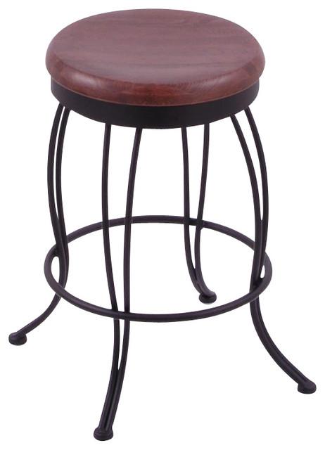 Georgian 25 High Wooden Round Backless Swivel Counter