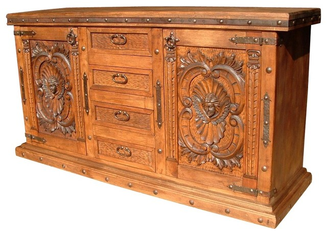 Angels Carved Wood Buffet rustic-buffets-and-sideboards