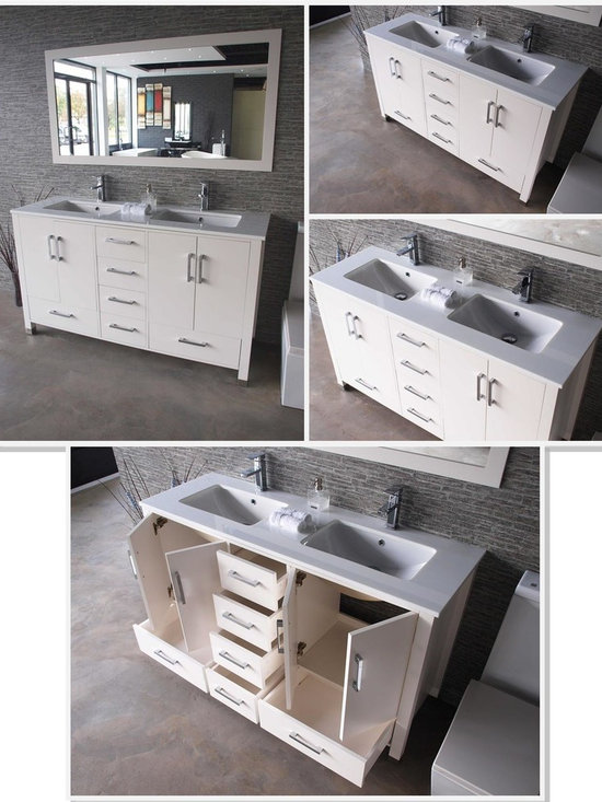 "Anziano 60"" White Double Sink Vanity Set w/ Quartz Countertop - -MDO Wood construction"