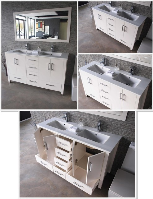"Anziano 60"" White Double Sink Vanity Set w/ Quartz Countertop traditional-bathroom-vanities-and-sink-consoles"