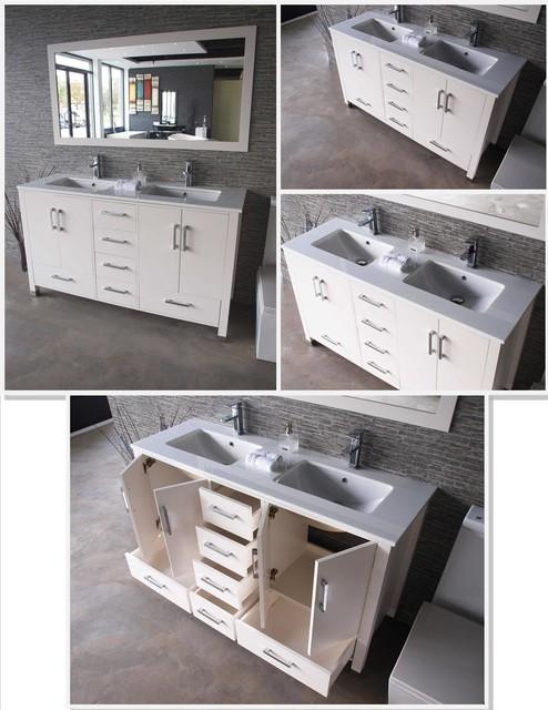 "Anziano 60"" White Double Sink Vanity Set w/ Quartz ..."