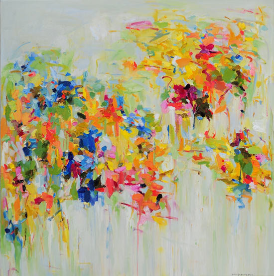 Spring Garden Giclee Print From Original Oil Mix Media By Siiso contemporary-mixed-media-art