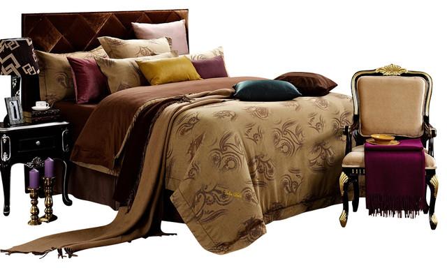 Dolce Mela DM474 Jacquard Damask Luxury Bedding Duvet Covet Set, Queen traditional-duvet-covers-and-duvet-sets