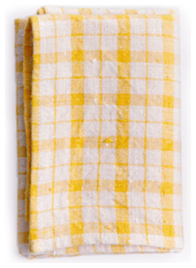 Thick Linen Towel Yellow + White traditional-dish-towels