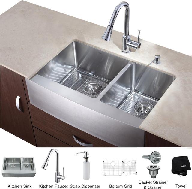 Kraus Farmhouse Sink : Kraus 36 in. Farmhouse Kitchen Sink, Dispenser modern-kitchen-sinks