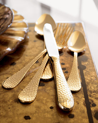 Wallace 65-Piece Gold-Plated Flatware Service traditional flatware
