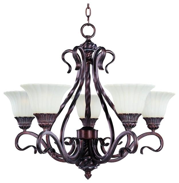 Rustic - Lodge Via Roma Vanilla Glass Five Light Chandelier modern-chandeliers