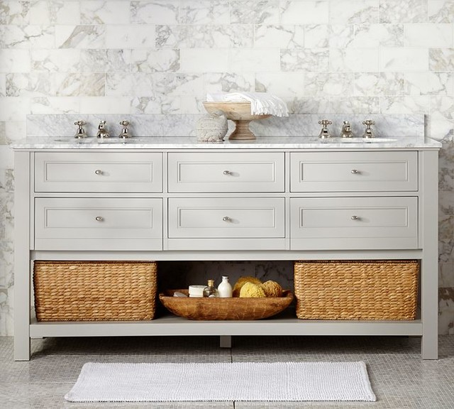 Classic Double Sink Console Gray Contemporary Bathroom Vanity Units Amp