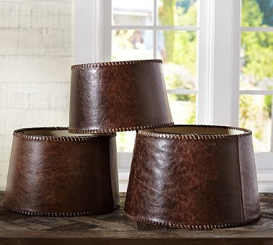 Leather Lamp Shade Large Traditional Lamp Shades By