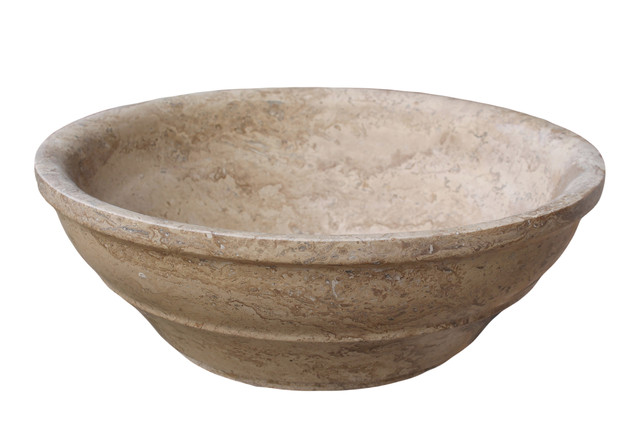 Mediterranean Bathroom Sinks: Elegant Natural Stone Vessel Sink, Noce Travertine