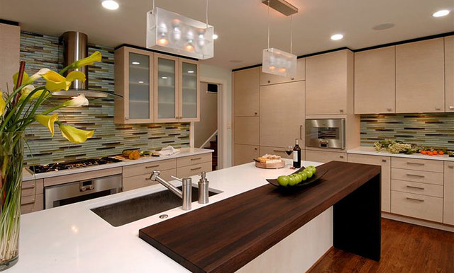 Wenge wood countertop by grothouse contemporary for Contemporary kitchen countertops