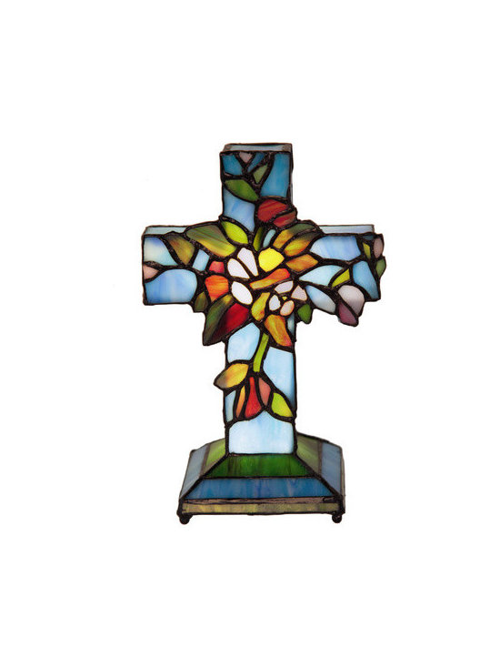 """8.5"""" H Battery Operated Wireless Flowers and Vines Cross Accent Lamp - This lamp is battery operated allowing for multiple display options. Perfect for any room with limited electrical outlets or a space that needs a special light accent. This accent lamp is based on one of our most popular designs and will brighten any space or special event. Use as a centerpiece on a table. Take this item into your local florist and have them create a floral arrangement around it. Ideal for a birthday, anniversary, baptism, get well, holiday, memorial or bereavement gift.  Requires three AAA batteries (not included). UL Approved."""