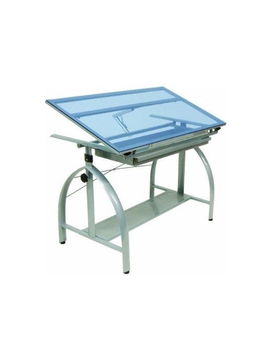 Amazon.com - Studio Designs Avanta Drafting Table in Silver with Blue Glass 1006 -