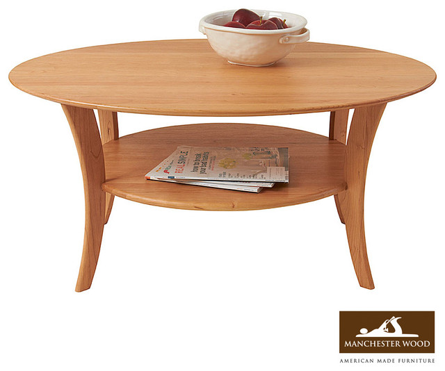 Oval cherry coffee table by manchester wood contemporary for Modern cherry coffee table