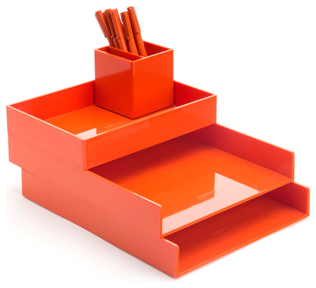 Desktop Set Orange Contemporary Desk Accessories