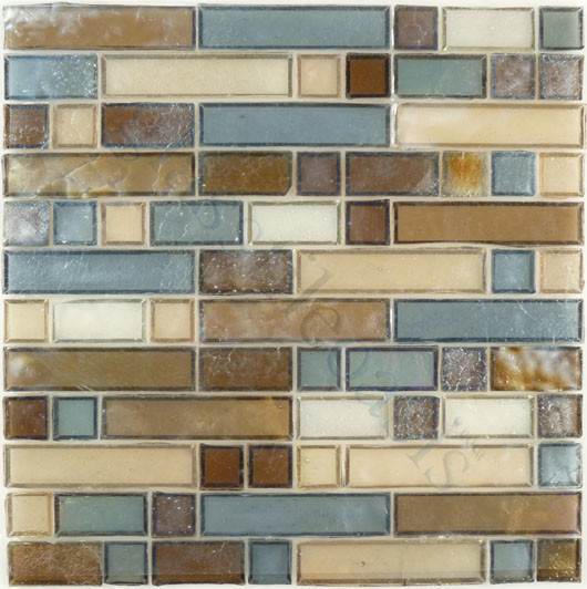 shapes brown backsplash glossy and iridescent glass modern tile