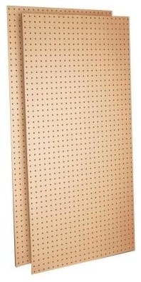 Triton Products Tempered Wood Pegboard (2) 24 in. W x 48 in. H x 1/4 in. D Heavy contemporary-hooks-and-hangers