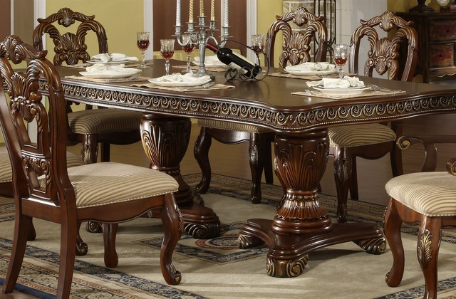 Double Pedestal Dining Set Traditional Dining Sets