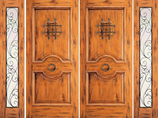 Prehung Double Door with Two Sidelites, Exterior, Alder, Speakeasy rustic-front-doors