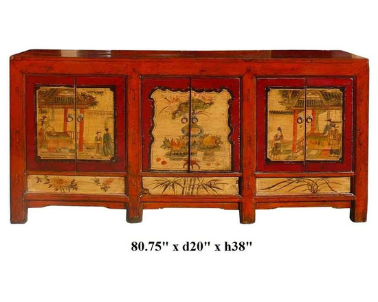 Chinese Ancient People Scenery & Flowers Graphic Wooden Buffet Table - This red color buffet table is made of old solid elm wood and hand painted with ancient people scenery and flowers graphic.
