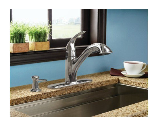Moen Caprillo Chrome one-handle low arc kitchen faucet - The Caprillo® family adds style and function to the kitchen sink with it's three function pullout wand