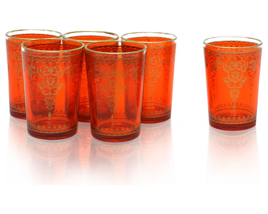 Divine Designs - Set of 6 Orange Moroccan Tea Glasses - These stunning Moroccan tea glasses offer a new and unique experience to dining and entertaining. The vibrant color and distinguishing design is stylish and designed to impress.