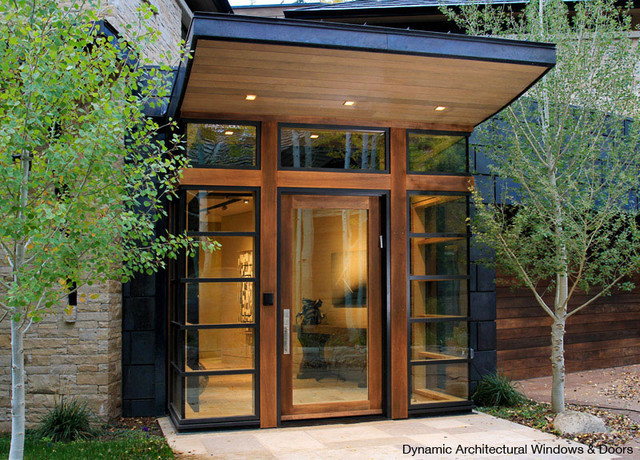 Modern interior wooden front door big window for Contemporary front doors