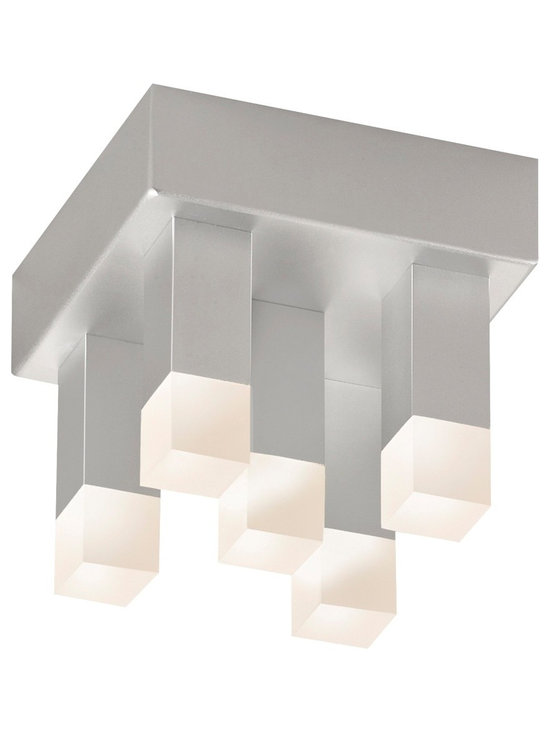 """Sonneman - Sonneman Connetix 5"""" Wide LED Ceiling Light - Bring modern lighting style home with the Connetix collection from Sonneman. This flushmount LED ceiling light fixture is eye-catching and contemporary with a rectangular canopy in a bright satin aluminum finish that features four lighted rods extending downward. Bright CREE LEDs are housed within white etched acrylic at the ends of the rods and offer warm white lighting. Sonneman Connetix collection ceiling light. Bright satin aluminum finish. White etched acrylic. Includes 5 CREE LED array (11 total watts). 3000K color temperature; CRI 80. Light output 1000 lumens. Dimmable. 5"""" wide. 4 1/2"""" high.  Sonneman Connetix collection ceiling light.  Bright satin aluminum finish.  White etched acrylic.  Includes 5 CREE LED array (11 total watts).  Light output 1000 lumens.  Comparable to a 75 watt incandescent.  3000K color temperature; CRI 80.  Dimmable.  5"""" wide.  4 1/2"""" high."""