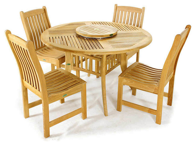Grand Hyatt 5pc Teak Round Dining Table And Chairs Modern Dining Sets Orange County By