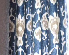 Yacht Blue, Cream, Java Ikat Curtains by Sew Panache eclectic-curtains