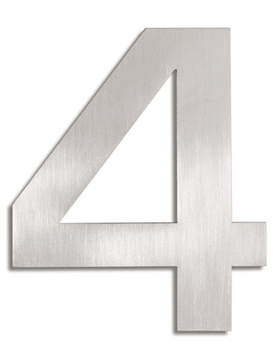 Blomus - Signo Stainless Steel House Number - 4 - Let everyone know where your house is with these stainless steel address markers. Easy to mount with simple instructions included. Brushed matte finish.