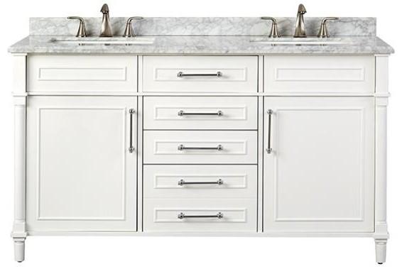 Aberdeen Double Vanity 34 5 Hx60 Wx22 D White Traditional Bathroom Vanities And Sink