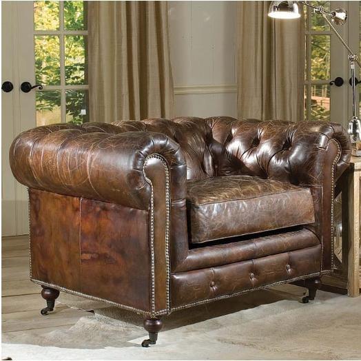 Regina Andrew Italian Black Crackle Leather Lounge Chair